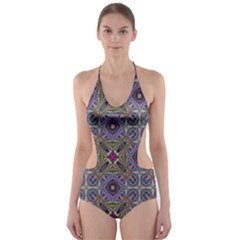 Vintage Abstract Unique Original Cut Out One Piece Swimsuit