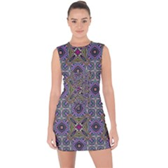 Vintage Abstract Unique Original Lace Up Front Bodycon Dress
