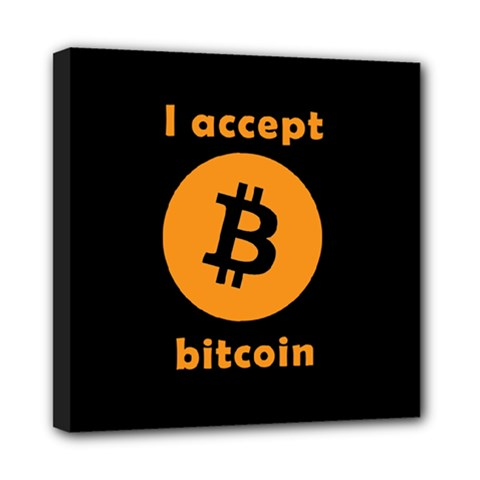 I Accept Bitcoin Mini Canvas 8  X 8  by Valentinaart