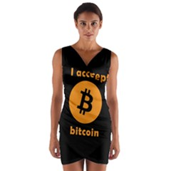 I Accept Bitcoin Wrap Front Bodycon Dress by Valentinaart