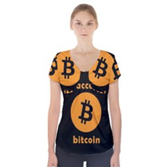 I Accept Bitcoin Short Sleeve Front Detail Top by Valentinaart