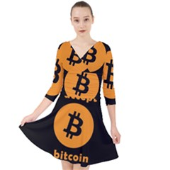 I Accept Bitcoin Quarter Sleeve Front Wrap Dress	 by Valentinaart