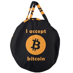 I Accept Bitcoin Giant Round Zipper Tote by Valentinaart