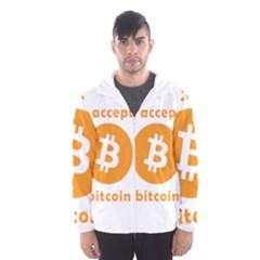 I Accept Bitcoin Hooded Wind Breaker (men) by Valentinaart