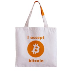 I Accept Bitcoin Zipper Grocery Tote Bag by Valentinaart