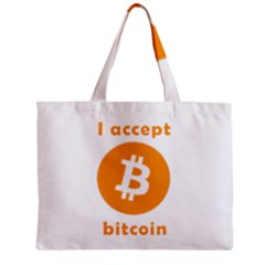 I Accept Bitcoin Zipper Mini Tote Bag by Valentinaart