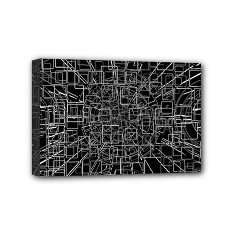 Black Abstract Structure Pattern Mini Canvas 6  X 4