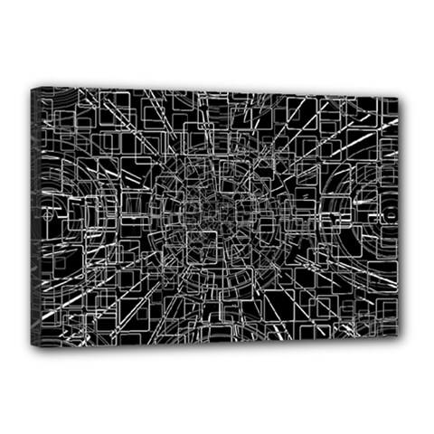Black Abstract Structure Pattern Canvas 18  X 12