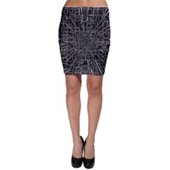 Black Abstract Structure Pattern Bodycon Skirt