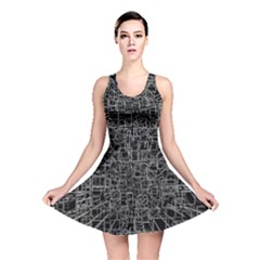 Black Abstract Structure Pattern Reversible Skater Dress