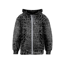 Black Abstract Structure Pattern Kids  Zipper Hoodie