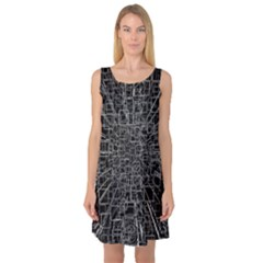 Black Abstract Structure Pattern Sleeveless Satin Nightdress by BangZart