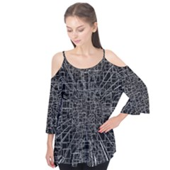 Black Abstract Structure Pattern Flutter Tees