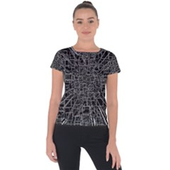 Black Abstract Structure Pattern Short Sleeve Sports Top