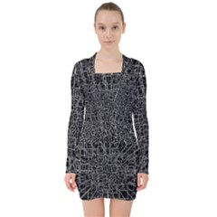 Black Abstract Structure Pattern V Neck Bodycon Long Sleeve Dress