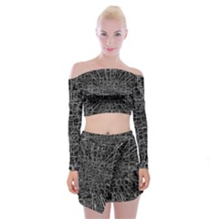 Black Abstract Structure Pattern Off Shoulder Top With Mini Skirt Set