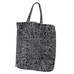 Black Abstract Structure Pattern Giant Grocery Zipper Tote
