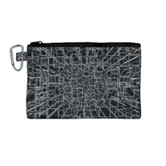Black Abstract Structure Pattern Canvas Cosmetic Bag (medium) by BangZart