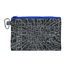 Black Abstract Structure Pattern Canvas Cosmetic Bag (large) by BangZart