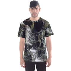 Water Waterfall Nature Splash Flow Men s Sports Mesh Tee