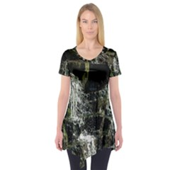 Water Waterfall Nature Splash Flow Short Sleeve Tunic