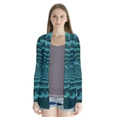 Fractals Form Pattern Abstract Drape Collar Cardigan