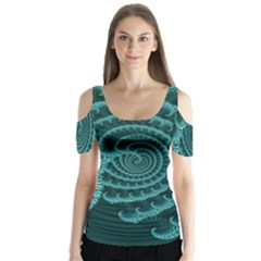 Fractals Form Pattern Abstract Butterfly Sleeve Cutout Tee