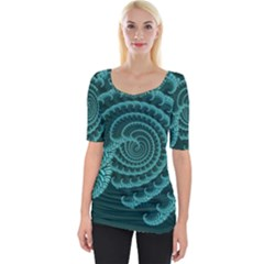 Fractals Form Pattern Abstract Wide Neckline Tee