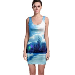 Ski Holidays Landscape Blue Bodycon Dress