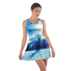 Ski Holidays Landscape Blue Cotton Racerback Dress