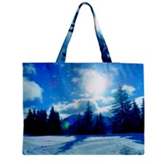 Ski Holidays Landscape Blue Zipper Medium Tote Bag