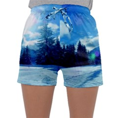 Ski Holidays Landscape Blue Sleepwear Shorts