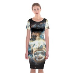 Universe Vampire Star Outer Space Classic Short Sleeve Midi Dress
