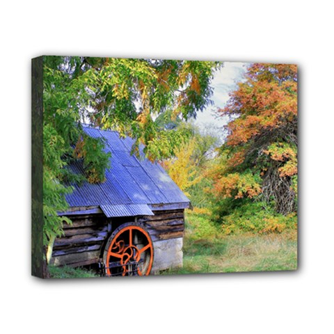 Landscape Blue Shed Scenery Wood Canvas 10  X 8