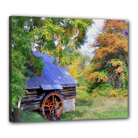 Landscape Blue Shed Scenery Wood Canvas 24  X 20