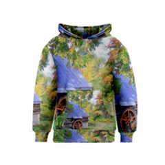 Landscape Blue Shed Scenery Wood Kids  Pullover Hoodie