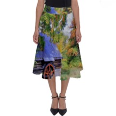 Landscape Blue Shed Scenery Wood Perfect Length Midi Skirt