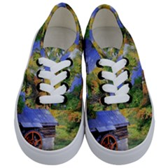 Landscape Blue Shed Scenery Wood Kids  Classic Low Top Sneakers