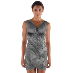 Wolf Forest Animals Wrap Front Bodycon Dress