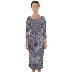 Wolf Forest Animals Quarter Sleeve Midi Bodycon Dress