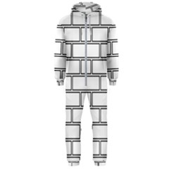 Wall Pattern Rectangle Brick Hooded Jumpsuit (men)