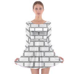 Wall Pattern Rectangle Brick Long Sleeve Skater Dress