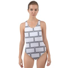 Wall Pattern Rectangle Brick Cut Out Back One Piece Swimsuit