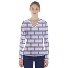 Wall Pattern Rectangle Brick V Neck Long Sleeve Top