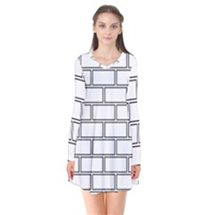 Wall Pattern Rectangle Brick Flare Dress