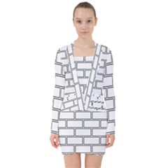 Wall Pattern Rectangle Brick V Neck Bodycon Long Sleeve Dress