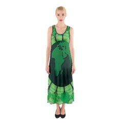 Earth Forest Forestry Lush Green Sleeveless Maxi Dress