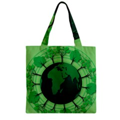 Earth Forest Forestry Lush Green Zipper Grocery Tote Bag by BangZart