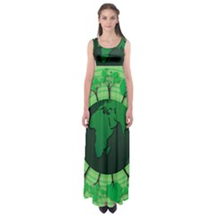 Earth Forest Forestry Lush Green Empire Waist Maxi Dress