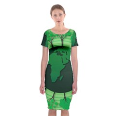 Earth Forest Forestry Lush Green Classic Short Sleeve Midi Dress